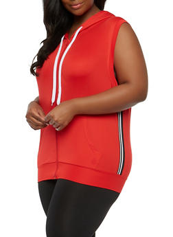 Plus Size Side Stripe Hooded Sleeveless Top - 1924072290110