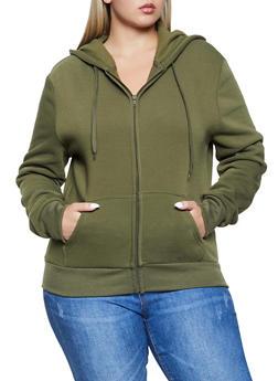Plus Size Zip Front Hooded Sweatshirt - 1924072291666