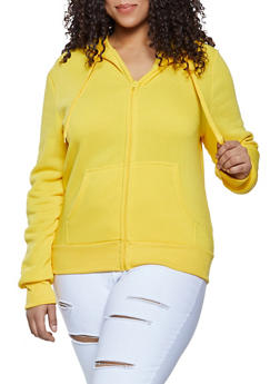 Plus Size Zip Front Hooded Sweatshirt - 1924072291666