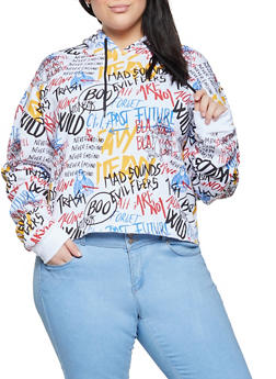 Plus Size Graffiti Print Hooded Sweatshirt - 1924072292400