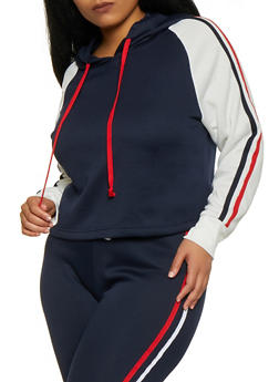 Plus Size Hooded Color Block Sweatshirt - 1924074710720