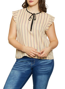 Plus Size Striped Tie Neck Blouse - 1925054211416