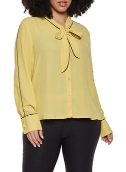 Plus Size Tie Neck Shirt - 1925054211491