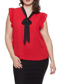 Plus Size Tie Neck Flutter Sleeve Blouse - 1925054211534