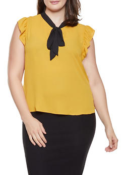 Plus Size Tie Neck Flutter Sleeve Blouse - 1925054211534