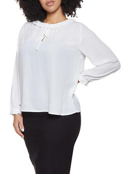 Plus Size Ruffled Tie Neck Blouse - 1925054212555