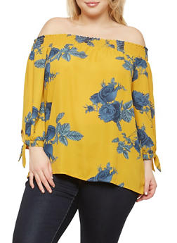 Plus Size Floral Off the Shoulder Top - 1925054213857