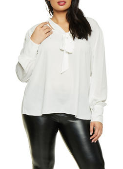 Plus Size Tie Neck Blouse - 1925054214005