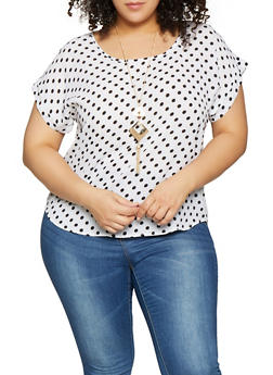Plus Size Polka Dot Top - WHITE - 1925062702342
