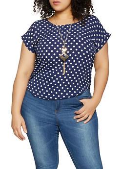 Plus Size Polka Dot Top - 1925062702342