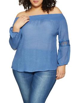 Plus Size Lace Trim Off the Shoulder Top - 1925062702347