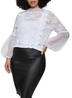 Plus Size Bubble Mesh Sleeve Lace Top - 1925062706632