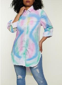 Plus Size Tie Dye High Low Button Front Shirt - 1925063402809