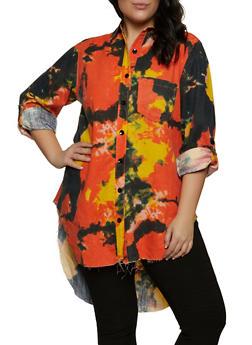 Plus Size Tie Dye Button Front Shirt - 1925063404228