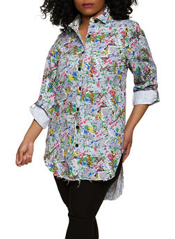 Plus Size Newspaper Print Tabbed Sleeve Shirt - 1925063404234
