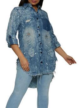 Plus Size Paint Splatter Denim Shirt - 1925063405899