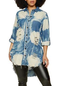 Plus Size Destroyed High Low Denim Shirt - 1925063406432