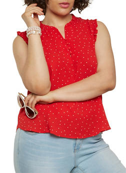 Plus Size Ruffle Trim Polka Dot Top - RED - 1925069390120