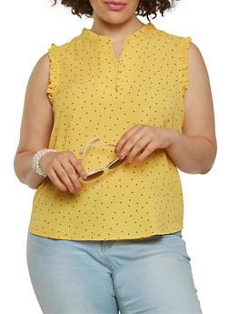 Plus Size Ruffle Trim Polka Dot Top - 1925069390120