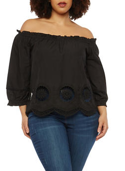 Plus Size Crochet Trim Off the Shoulder Top - 1925069390131