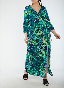 Plus Size Printed Faux Wrap Maxi Dress with Sleeves - 1925069390305