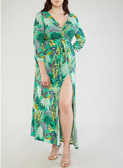 Plus Size Printed Faux Wrap Maxi Dress with Sleeves - 1925069390394