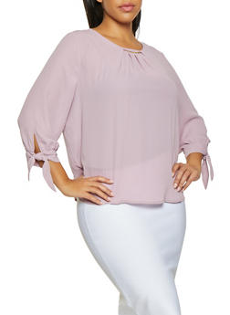 Plus Size Shirred Tie Sleeve Blouse - 1925069390625