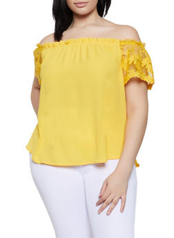 Plus Size Off the Shoulder Embroidered Sleeve Top - 1925069390816