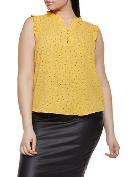 Plus Size Polka Dot Half Button Blouse - 1925069391012