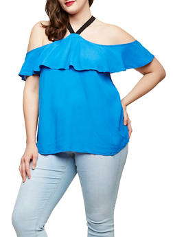 Plus Size Ruffle Cold Shoulder Top - 1925069391043
