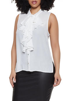 Plus Size Sleeveless Tie Neck Shirt - 1925069391099