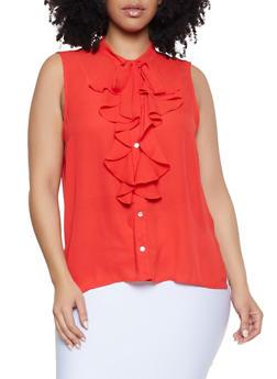 Plus Size Sleeveless Tie Neck Shirt - 1925069391099
