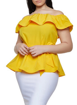 Plus Size Off the Shoulder Peplum Top - 1925069391290