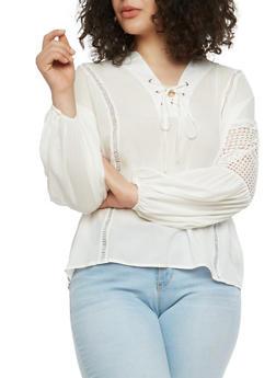 Plus Size Lace Up Crochet Insert Top - 1925069391530