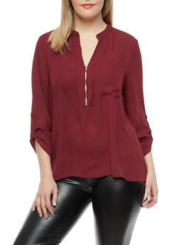 Plus Size Zip Neck Blouse - 1925069391652