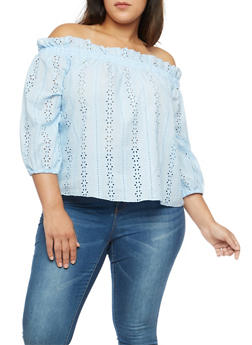 Plus Size Eyelet Off the Shoulder Top - 1925069391671