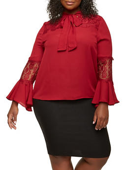 Plus Size Lace Trim Tie Neck Top - 1925069391859