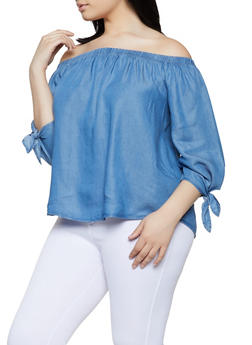 Plus Size Tie Sleeve Off the Shoulder Chambray Top - 1925069392938