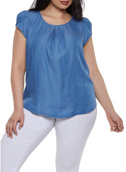 Plus Size Tulip Cap Sleeve Denim Top - 1925069392939