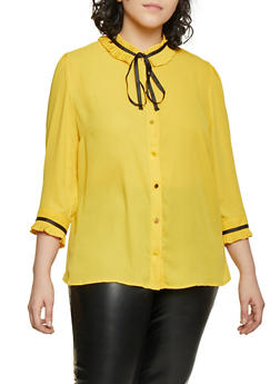 Plus Size Pleated Tie Neck Blouse - 1925069393265