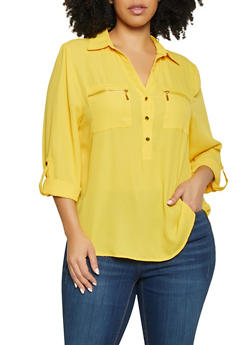Plus Size Half Button Zip Pocket Blouse - 1925069393278