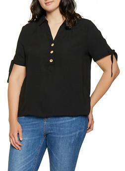 Plus Size Tie Sleeve Blouse - Black - Size 2X - 1925069393288