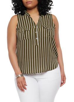 Plus Size Striped Sleeveless Top - 1925069393639