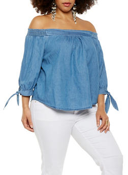 Plus Size Chambray Off the Shoulder Top - 1925069395689