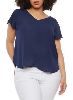 Plus Size Flutter Sleeve Blouse - 1925069396017