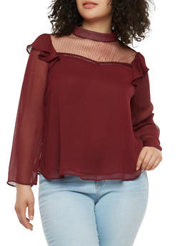 Plus Size Sheer Mesh Trim Top - 1925069396035