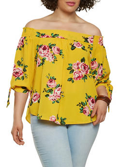 Plus Size Floral Off the Shoulder Top - 1925069396689