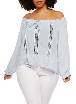 Plus Size Tie Off the Shoulder Peasant Top - 1925069398257