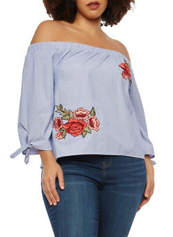 Plus Size Striped Embroidered Off the Shoulder Top - 1925069398643