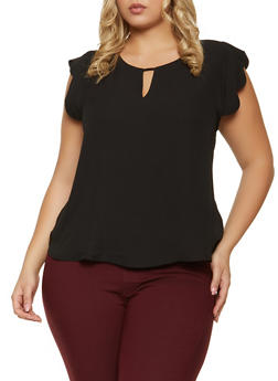 Plus Size Scalloped Cap Sleeve Blouse - 1925069399011